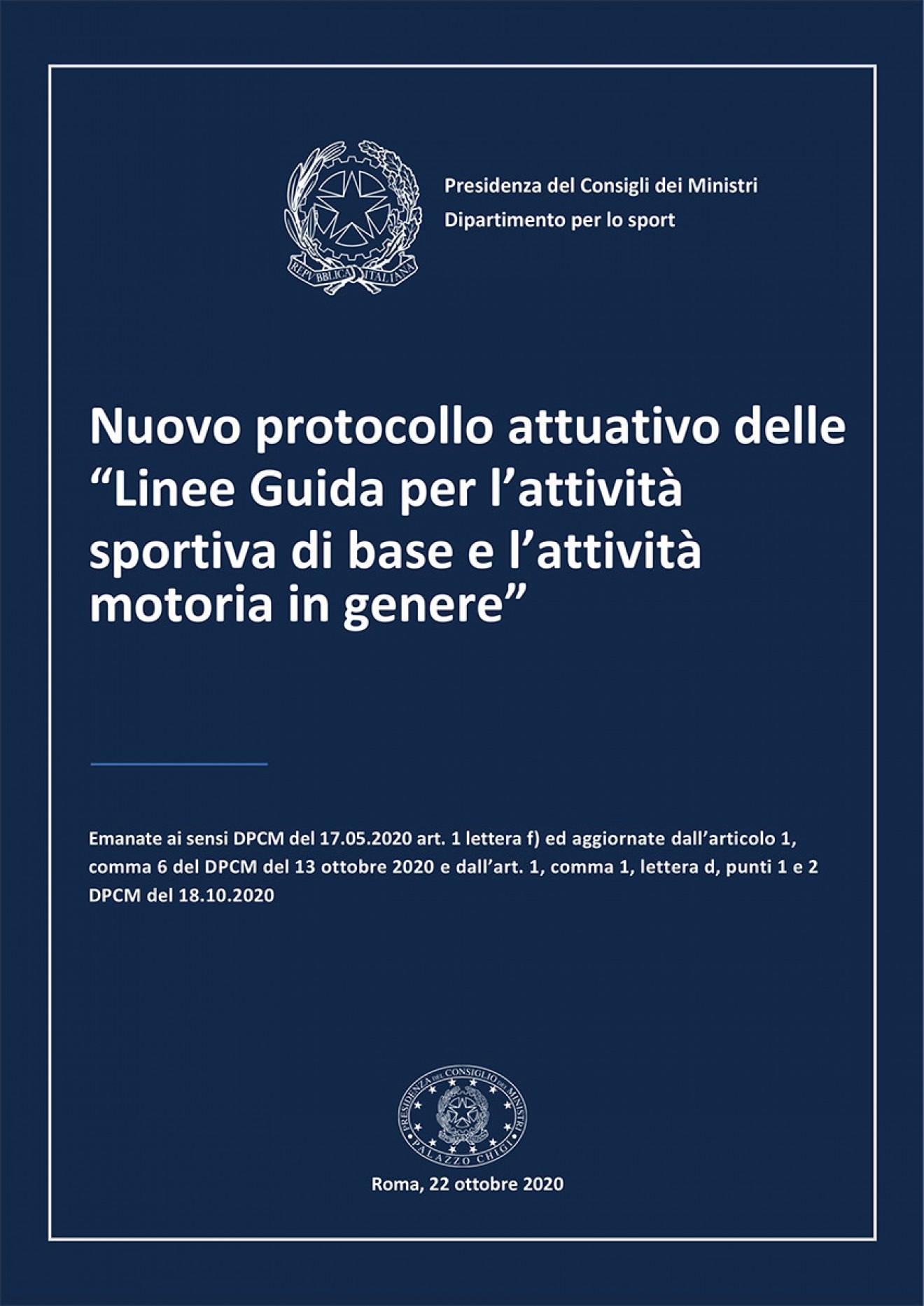 """Nuovo protocollo attuativo delle """"Linee Guida per l'attività sportiva di base e l'attività motoria in genere"""""""