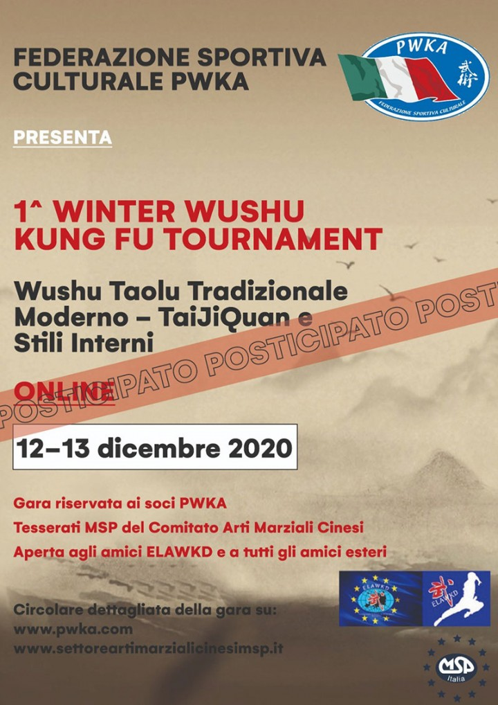 1°WINTER ON-LINE WUSHU KUNG FU TOURNAMENT